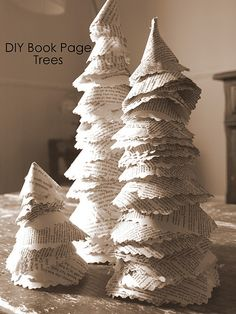 book pages, tree crafts, christmas paper, book page crafts, diy christmas tree, paper trees, christmas trees, book lover, old books