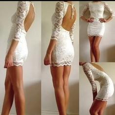 Open-back white dress