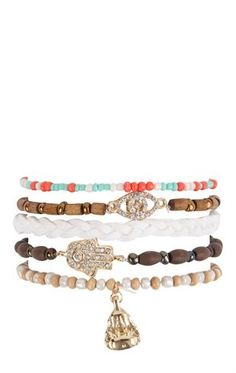 Deb Shops Five Bracelet Set with Hamsa and Wood Beads $6.00