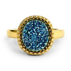 This Gold Vermeil Blue Drusy Ring is a real beauty.