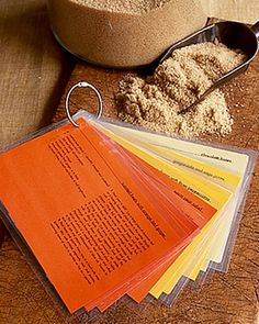 Don't let family recipe cards get ruined by kitchen spills, smudges, or old age. Protect special recipes with self-laminating sheets that are easy to wipe off. Try color-coding recipes by category, using orange for side dishes, yellow for appetizers, green for vegetables, etc.