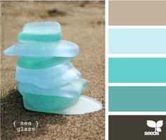 Relaxing color scheme for our home. Love sea glass.