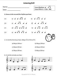 FREE!!!  MUSIC Aural Worksheet: Listening Drill  FREE DOWNLOAD