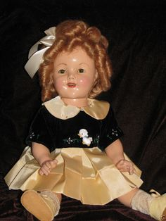 """GORGEOUS SHIRLEY 18"""" 1930'S COMPOSITION IN CUSTOM DUCK DRESS  BIN= FREE SHIPPING #DollswithClothingAccessories"""