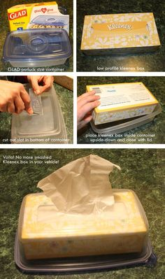 A cheap, easy solution to the crunched kleenex box in your vehicle -- by Stephanie Perdue.