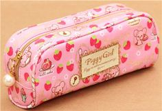 pink Piggy Girl pig pencil case strawberry glitter San-X 2