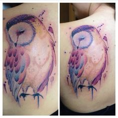 Watercolor owl tattoo from Nate Kraus at Splash of Color in East Lansing, MI