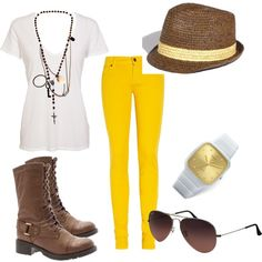 """""""yellow jeans"""" by claussenloveshoes on Polyvore"""