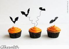 Flying Bat Halloween Cupcake Toppers