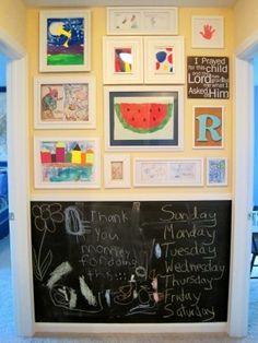cork board filled frames and chalkboard paint.