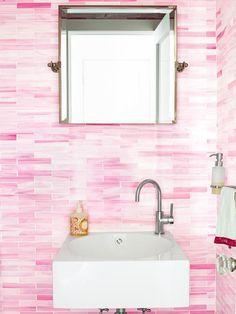 pink bathroom tiles.