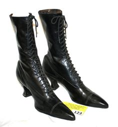 VICTORIAN LADIES LACE UP BLACK GLOVE LEATHER SHOES