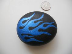Hand Painted Rock with Blue Flames by cargrannysartshop on Etsy, $18.00