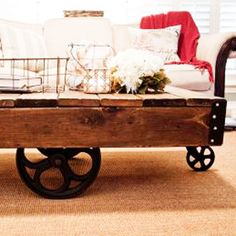 """The Blissful Bee Blogger out of Forth Worth, Texas turns to Lowe's to help create her DIY projects. She finished this Factory Cart Coffee Table in a few days. """"About 90 percent of the materials used were from Lowe's and made to look vintage — the other 10 percent were actual vintage pieces,"""" she says."""