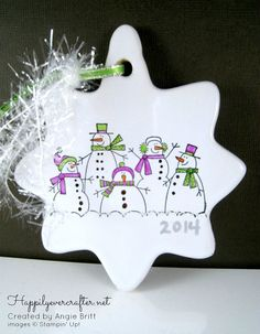 Snowman Ornament Christmas Ornament Dated by happilyevercrafter