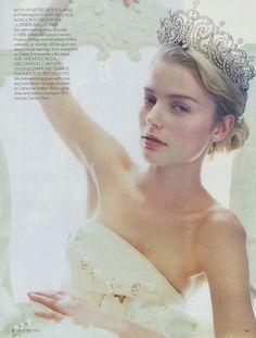Model wearing the Cartier Essex Tiara. Vogue UK   December 2001 issue