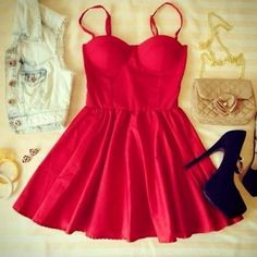 Love this red dress.