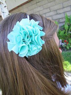 Scrunch Fabric Flower Pom Pom Headband TUTORIAL - craft - Little Miss Momma