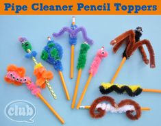 Fun Ideas for Pipe Cleaner Pencil Toppers  www.clubchicacircle.com