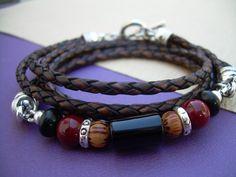 Triple Wrap Gemstone and Leather Bracelet by UrbanSurvivalGearUSA, $32.99
