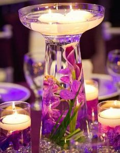 Calla Lily & Orchid Glass Vase Wedding Reception Table Centerpieces