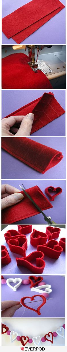 felt heart garland - easy and clever idea