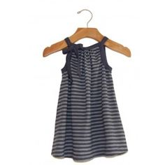 Go Gently Baby :: ON SALE $33.60 What's super soft, striped and has a bow?  This dress!  Organic, comfortable the little girls that wear this may refuse to take it off!  Switch it up with leggings under or a cardigan over and this dress will be sure to get its use! 100% Organic Cotton  #Kidsfashion #OrganicClothing #ShopBelle    Made in USA    Color: Navy/Grey Stripe