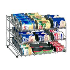 Can Rack - organize canned goods.  Great idea!