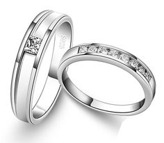 Zircon and Silver Engravable Wedding Couple Ring