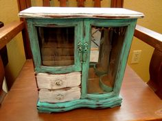 Wood Jewelry Box Distressed Turquoise Hand Painted by sodistressed, $52.00