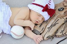 Knitted Baby Girl's First Baseball Beanie Hat by TheRobinsonsHouse, $12.00
