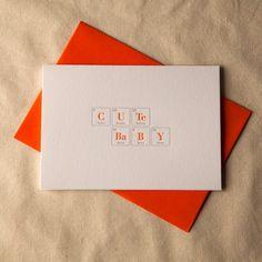 Cute Baby // Geek Letterpress Card // Paper Elephant