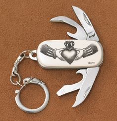 Scrimshaw Claddagh Key Ring/Penknife - Only at GaelSong!  A great gift for all your groomsmen!