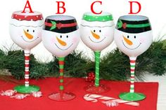 Snowman Faces Wine Glass wines, holiday, snowman face, gift boxes, christma idea, gifts, painted wine glasses christmas, christma craft, glass paint