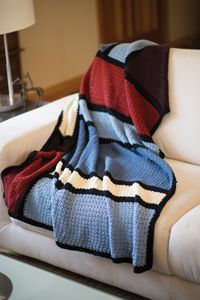Mondrian Throw - from the Fall 2014 Issue of Love of Crochet magazine  These modern blocks of color are crocheted in three separate pieces with a simple lace pattern that opens beautifully after blocking. Easily create a variety of looks by crocheting this abstract design in different colors, or use the colors here as a nod to Piet Mondrian himself.