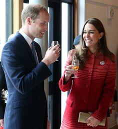The Duke and Duchess of Cambridge sampling whisky in Scotland.