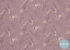 Lauran Ashley Pussy Willow Floral Linen/Cotton Fabric Grape