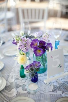 Pretty Glass Jars - purple & pastel theme - vintage and quirky dinner party - dining - table setting