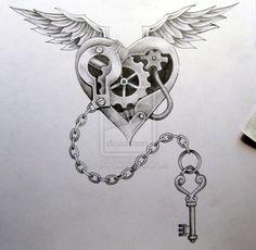 Steampunk Wedding Theme | steampunk locket key tattoo heart tattoo steampunk tattoo tattoo