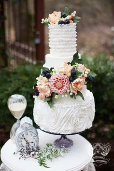 Beautiful Multi-Tiered With Flowers Cake