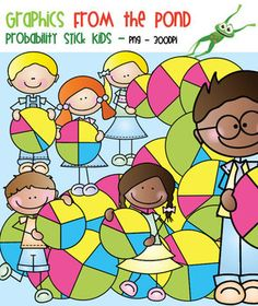 Probability Spinners and Stick Kids - Clipart for Math and