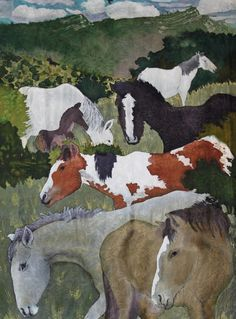 "Placitas Wild Horses, 54 x 38"", quilt by Judith Roderick"