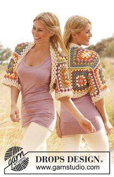"""Crochet DROPS shoulder piece with squares in """"Paris"""". ~ DROPS Design"""