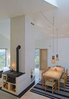 . interior design, cottage interiors, fireplac, cabins, islands, high ceilings, cabin interiors, decor idea, norway