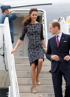 The Royal Visit 2011: Kate Middleton wears an Erdem dress paired with neutral pumps by LK Bennett. Photo by Getty Images.