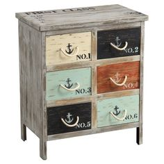 Lend a touch of nautical appeal to your living room or master suite with this eye-catching chest, featuring 6 drawers with numeral and anchor accents.