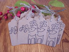 HandMade Rustic Christmas Gift Tags Set of 8 by CreativeCraftBtq, $6.25