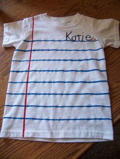 lined paper t shirt DIY