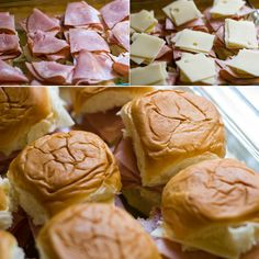 Hot and Melty Over Baked Ham and Swiss Sandwiches ... Kings Hawaiian Rolls, swiss cheese, thin sliced ham, butter, ground mustard, poppy seeds, onion flakes (or 1 tsp onion powder), worcheshire sauce