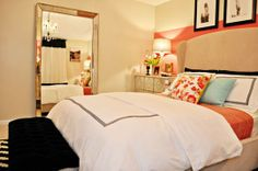 Apartment Therapy | Bedroom for a Fashionista  peach, black and white, blue bedroom, Audrey Hepburn classic look